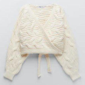 NWT Zara Ecru Cable Knit Wrap Cardigan w/ Hem Tie